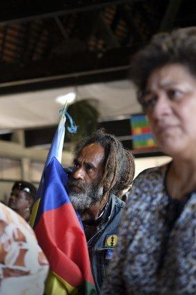 Noumea, mardi 30 septembre 2018. Meeting de cloture de la campagne du FLNKS (front de liberation nationale kanak socialiste) pour le oui au referendum d'autodetermination de la Nouvelle-Caledonie.
