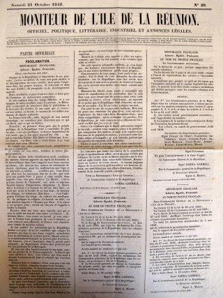 L'arrivée de Sarda Garriga à Cayenne relatée dans la Feuille de la Guyane française, 15mai 1852.