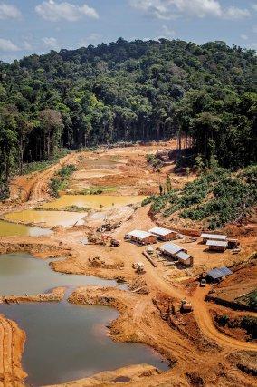 Chantier aurifère au cœur du massif forestier guyanais.