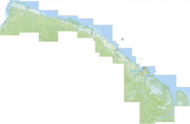 """L'affichage sur le géoportail national des cartes topographiques de l'IGN donne une image singulière du territoire: sans voisin et sans lien avec l'océan au nord ou la forêt au sud, la Guyane se résume à une bande littorale dont le découpage étrange se prolonge à l'ouest le long du Maroni jusqu'à St-Laurent alors qu'à l'est, il ignore même l'Oyapock, son fleuve frontalier… Cette """"vision"""" n'est-elle que le reflet de la faiblesse des référentiels topographiques nationaux, ou ne contribue-t-elle pas à alimenter l'idée d'un No man's land intérieur?"""