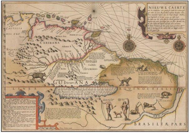 Artiste flamand, graveur et cartographe Jodocus Hondius a contribué à l'établissement d'Amsterdam comme centre de la cartographie en Europe au XVIIesiècle. Il s'agit ici d'une des premières représentations du mythique Lac Parimé. La précision, pour l'époque, de la description (géométrique et toponymique) des côtes contraste avec les blancs de la carte de l'intérieur qui sont comblés par de multiples figures légendaires.
