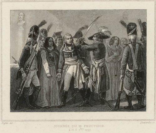 « 18 Fructidor An V. Arrestation de l'adjudant général Ramel dans le jardin des tuileries.» Estampe de Raffet