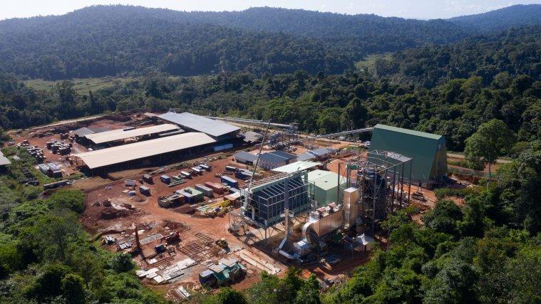 La centrale biomasse de Saint-Georges en cours de construction.