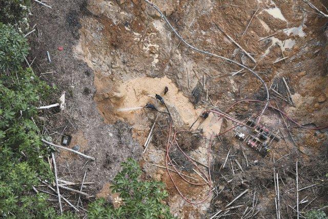 Un site d'orpaillage illégal non loin de la crique Lipo Lipo à l'Est d'Antecume Pata. Août 2017.