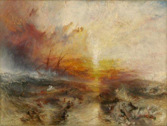 Négriers jetant par-dessus bord les morts et les mourants - un typhon approche