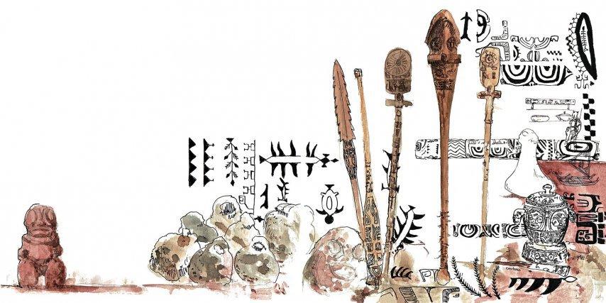 Objets et motifs marquisiens, au centre des casse-têtes et des lances, dont (le plus grand au centre) U'u, le casse-tête de Pakoko, prêtre-guerrier de Taiohae - Nuku Hiva..