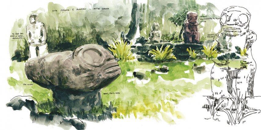 Le site Iipona sur Hiva Oa. Au premier plan Makii Tau'a pepe, le tiki couché, et à droite, Takaii, le plus grand tiki en pierre de Polynésie qui mesure 2,43m.