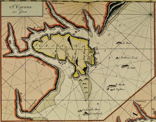 «Guiana», détail d'une carte de Claes J. Vooght, fin XVIIe siècle.