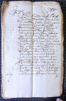 Document présentant l'acquisition en 1660 de la «terre de Cayenne» par le Portugais Drago, commerçant à Amsterdam.