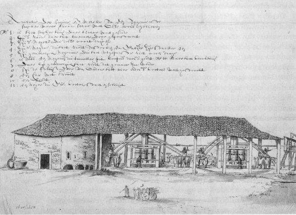 Croquis d'un moulin à bêtes pour broyer la canne par Frans Post, 1640 (Brésil).