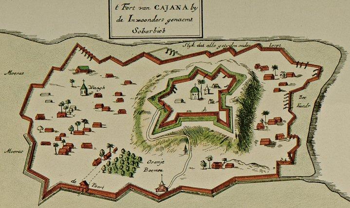 «Cajana» (Cayenne), détail d'une carte de Claes  J. Vooght, fin XVIIe siècle.