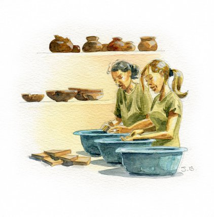Après la fouille, les fragments de céramique et les objets trouvés sur le site sont lavés, inventoriés et analysés au laboratoire du Service Régional de l'Archéologie (SRA).