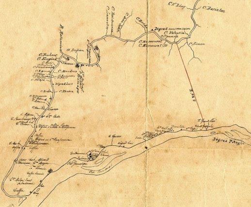 Carte des habitations sur le fleuve Approuague au XIXe siècle