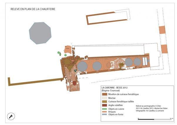Plan de la structure de cuisson du sucre de l'habitation La Garonne-Besse