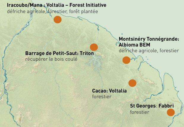Carte présentant les éventuels projets de bois-énergie et l'accompagnement probable de leur approvisionnement.