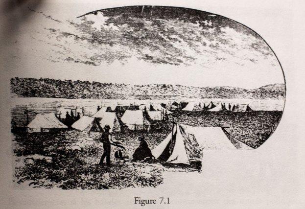Vue d'un camp traditionnel atikamekw