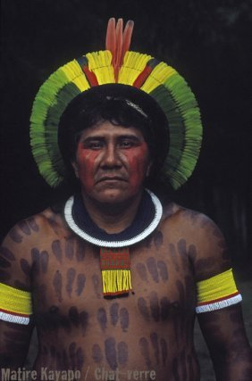 Matire, l'un des 6 caciques traditionnels de Gorotire,connu pour son intransigeance dans les négociations avec les autorités