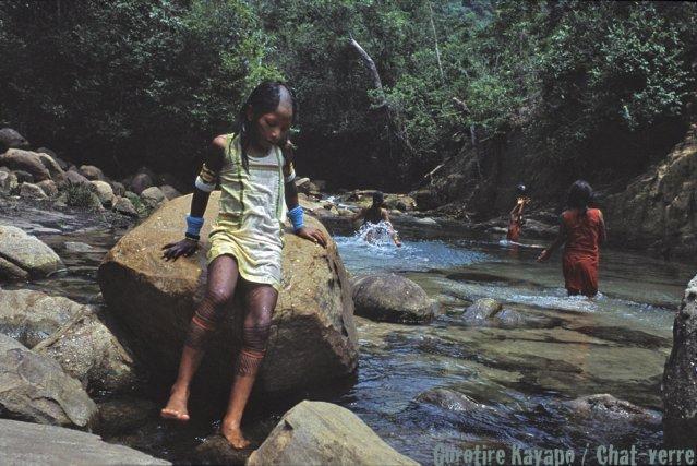 Les meôkre  (dernière classe d'âge avant l'adolescence) se baignant dans un affluent du Xingú.