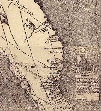 Détail du planisphère de Martin Waldseemüller (1507), avec la 1ère mention de l'Amérique.