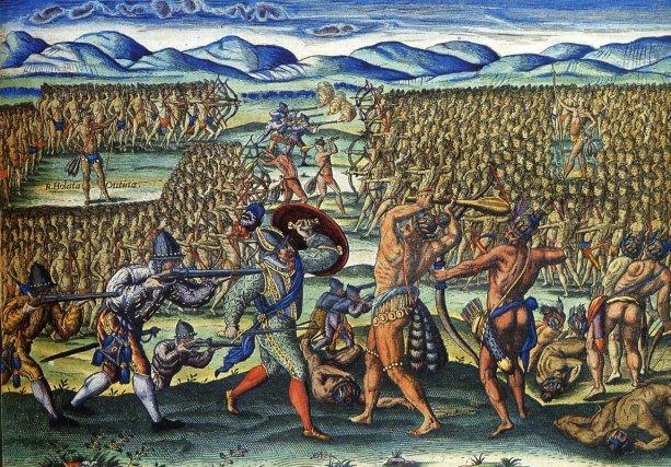 «Français aidant des Indiens dans une bataille».