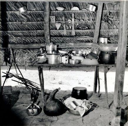 Intérieur de case aluku: sous le toit de palme, des peignes sculptés en bois.Au sol une gourde pour l'eau, faite en fruit de Lagenaria siceraria.