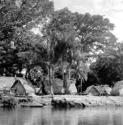 Village aluku de Assissi (1952), au bord du Lawa. Etabli sur une île inondable. Le village est actuellement plus ou moins abandonné au profit du village de Loka situé en hauteur.
