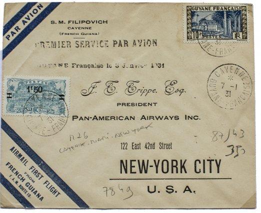 Premier Cayenne-New-York en 1931