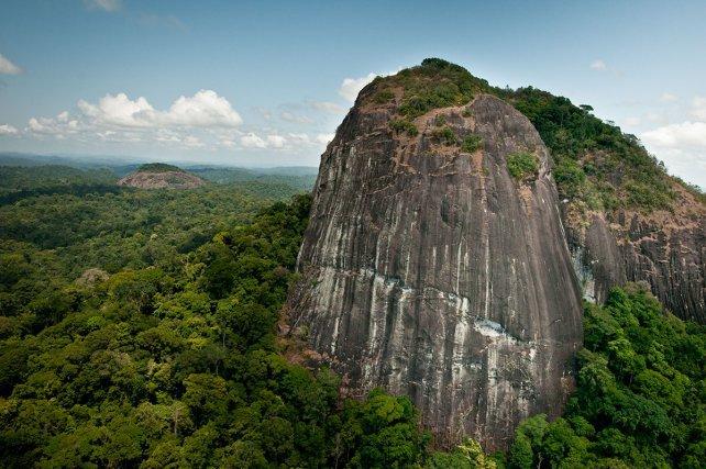 Pic Coudreau du sud (632m). À ne pas confondre avec son homonyme, le Pic Coudreau des monts Bakkra situé bien plus au nord, ce relief tailladé d'une profonde crevasse, marque fièrement les sources du Marouini. Octobre 2012