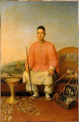 Kan-gao (ou Kiang-hiao) est recruté en même temps que ses vingt-sept compatriotes aux Philippines. Âgé de 27 ans, il est le fils d'un marchand chinois installé dans la ville de Xiamen (province du Fujian) et travaille comme secrétaire de son oncle Kansui. Kan-gao témoignera que les Français lui avaient promis des terres en Guyane. Il ne verra cependant jamais la colonie puisqu'il est amené à Paris comme «échantillon» pour être présenté au roi de France le 6 octobre 1821. Il est rapatrié à Manille deux ans plus tard. En mai 1821, il apprenait par lettre le décès de dix de ses compagnons dans les marais de Kaw. Tableau de P-L. Delaval, 1821.