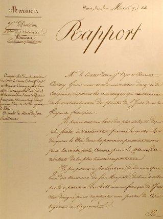 Rapport proposant la naturalisation du thé en Guyane. 8 mars 1816.