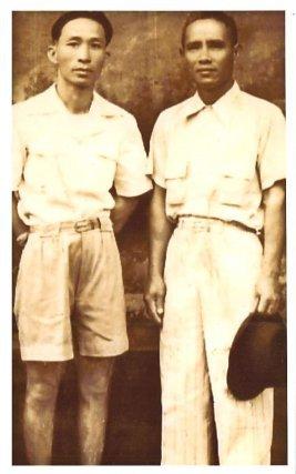 """Tran Tu Yen (à gauche) et Vu van Mo (à droite), un autre  """"politique"""" impliqué dans l'affaire de Yen Bay. Fin des années 1940."""