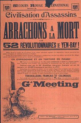 Appel à un meeting de protestation du Secours rouge international contre les condamnations à mort des mutins de Yen-Bay, 1930.