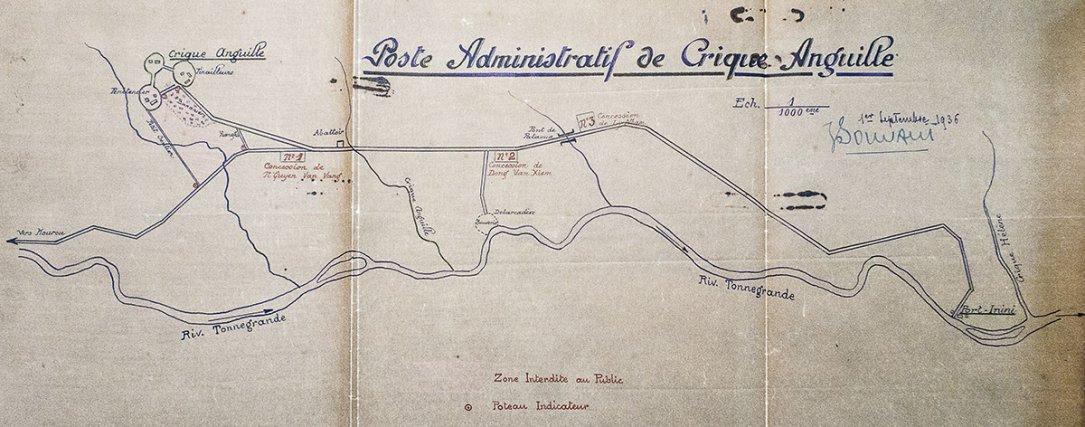 Plan de Crique Anguille en 1936.