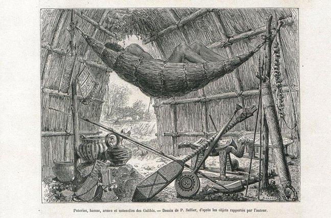 Poteries, hamac, armes et ustensiles des Galibis