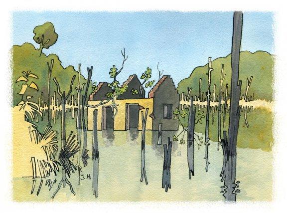 Au milieu du lac de retenue de Petit Saut, on peut toujours apercevoir les vestiges du camp de Saut Tigre, un bagne annamite situé sur les anciennes rives du Sinnamary.