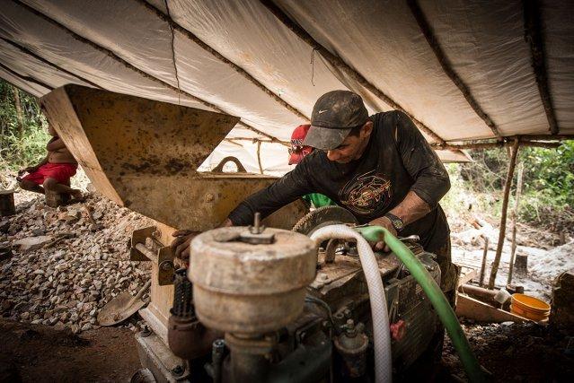Orpailleurs illégaux sur un chantier d'extraction d'or primaire.