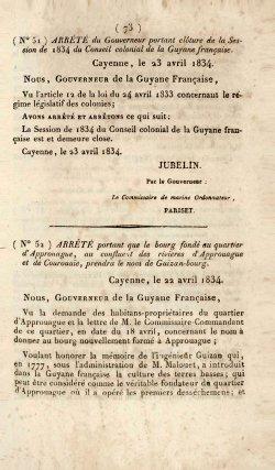 Bulletin officiel de la Guyane française, 1834.