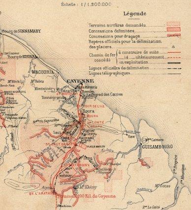 Détail d'une carte minière de D. Levat. 1902.