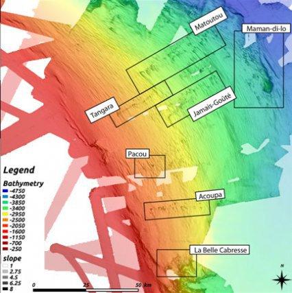 Carte bathymétrique haute-résolution du talus continental, au Sud-Est du Plateau de Demerara
