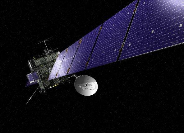Vue d'artiste de la sonde Rosetta. Les panneaux solaires sont déployés, lui donnant une envergure de 30 m. Sur la gauche, l'atterrisseur Philae.