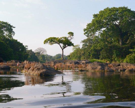 Saut sur le fleuve Suriname, saison sèche, territoire Saamaka