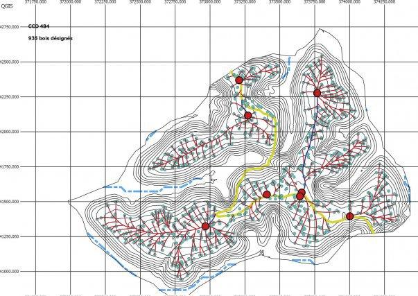 une des cartes dont dispose les exploitants forestiers : en jaune les pistes ONF, en bleu les pistes secondaires, en vert les arbres à exploiter, en rouge les tracés des cloisonnements et les points rouges matérialisent les parcs de rupture.