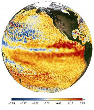 En mai 2015, les signes avant-coureurs d'un El Nino sont visibles dans le Pacifique (surélévation de la hauteur de mer se propageant de l'est vers l'ouest due au réchauffement des eaux de surface.)