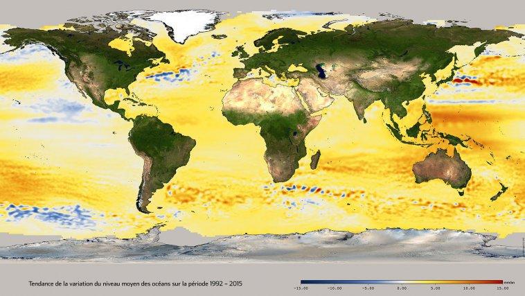 Tendances de la variation du niveau des mers sur la période 1992-2015, mesurée par les satellites altimétriques Topex/Poséidon,