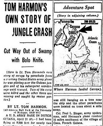 La presse américaine se passionna pour les aventures de Tom Harmon