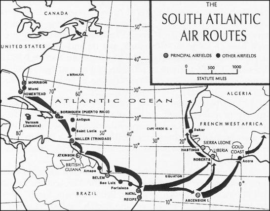 Carte de la route de l'Atlantique Sud réalisée par l'US Army Air Force en 1942.