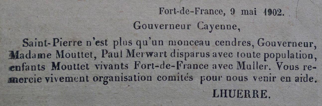 Journal officiel de la Guyane fr., 17 mai 1902. Louis Mouttet avait été gouverneur de Guyane de 1899 à 1901 avant d'être nommé en Martinique. Peintre officiel de la marine, Paul Merwart avait séjourné en Guyane en 1901 et clôt son séjour par une exposition de ses œuvres au musée de Cayenne.