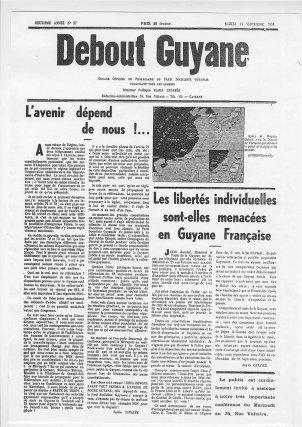 Le journal Debout Guyane du 13 septembre 1958, présentant le non de Justin Catayée au référendum du Général de Gaulle.