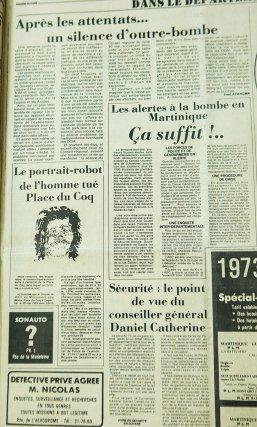 France-Guyane du 31 mai et du 2 juin 1983, relatant l'explosion d'une bombe, place du Coq, le samedi 28 mai 1983 à 23h.