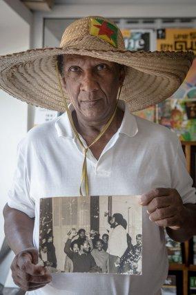 Raymond Charlotte et son inséparable chapeau, à Cayenne. Juillet 2016.